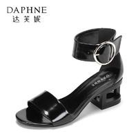 Daphne/达芙妮 休闲百搭粗跟女鞋简约一字带高跟凉鞋_1017303109黑色,36