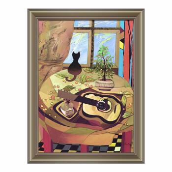 波普艺术 现代简约 装饰画 《吉他和猫》 装裱尺寸:70*50cm