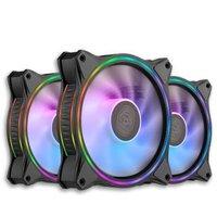 酷冷至尊(CoolerMaster)MF120 HALO 黑色版 ARGB机箱风扇三合一套装(均衡风扇x3/ARGB灯效/配控制器)