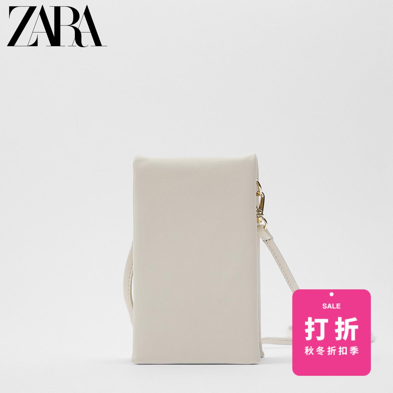 ZARA 16580510001 女士白色羊皮革手机袋式斜挎包