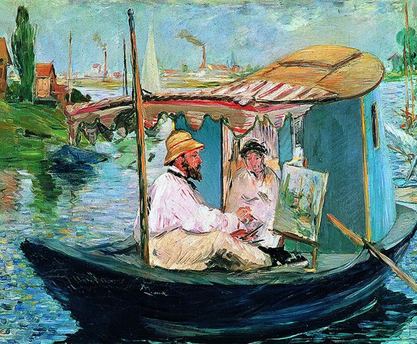 马奈《船上画室中的莫奈》88×105cm 装饰画 油画布