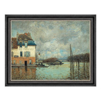 风景油画《马利港的洪水》西斯莱 装饰画 爵士黑 56×71cm