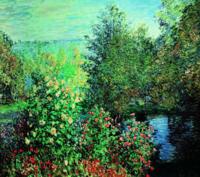 雅昌  莫奈油画《霍谢德家的花园在蒙裘隆》 典雅栗 70×75cm 油画布