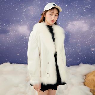 LEDIN 乐町 大翻领皮草冬季款双色毛毛外套女宽松韩版