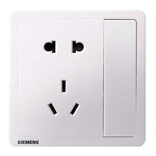 西门子(SIEMENS)开关插座 10A五孔带单控电源插座 86型暗装面板 致典雅白色