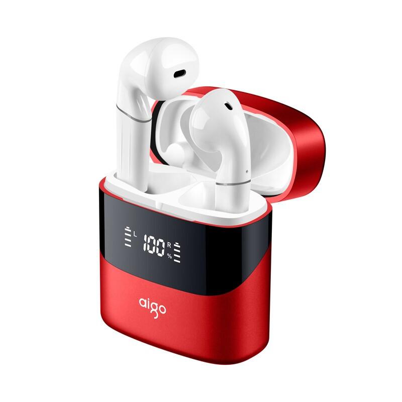 aigo 爱国者 TWS2 半入耳式真无线蓝牙耳机 金属红