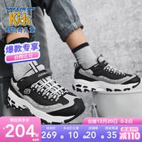 Skechers斯凯奇童鞋 冬季新款男女同款儿童运动鞋 时尚魔术贴休闲熊猫鞋664094L 黑色/白色/BKW 27.5码/鞋内长17cm