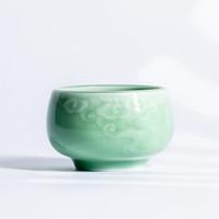 xigu 熹谷 龙泉青瓷 浮雕祥云主人杯茶杯 梅子青