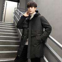 冬季新款男式羽绒服外套连帽白鸭绒中长款百搭休闲外套男
