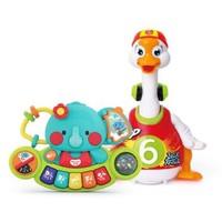 汇乐玩具 828C+597 摇摆鹅(充电版)+小萌象探索琴 婴儿益智玩具套装新年礼物 颜色随机