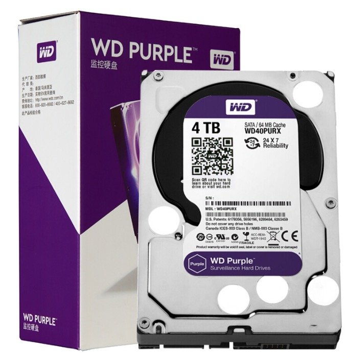 Western Digital 西部数据 紫盘系列 3.5英寸监控级硬盘 4TB 64MB(5900rpm、PMR)WD40PURX
