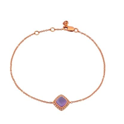 Fred Of Paris 18k金钻石0.1ct紫水晶 Amethpst Pain De Sucre 手链