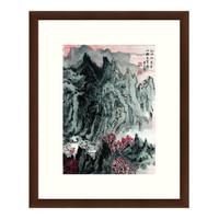 风景国画水墨画《山拥登高图》陆俨少装饰画 茶褐色 52×64cm