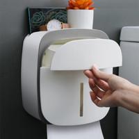 尚美德 卫生间纸巾盒厕所纸巾架厕纸盒浴室置物架壁挂免打孔防水卷纸筒创意抽纸盒卫生纸架 灰色双层纸巾盒