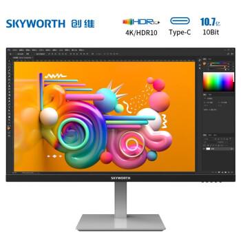 Skyworth 创维 28U1 28英寸IPS显示器(4K、90%P3、HDR10、Type-C)