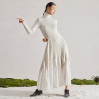 界内界外原创设计师2020秋冬新款装鱼尾拼接雪纺超长款羊毛针织连衣裙子高领气质女士 白色 S
