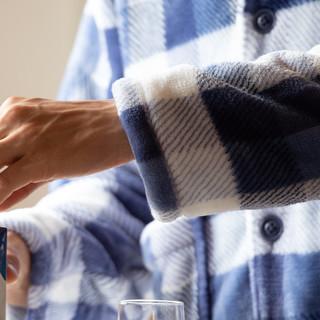 男士保暖法兰绒睡衣套装秋冬长袖格纹印花男式家居服
