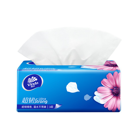 Vinda 维达 抽纸 超韧3层130抽*24包软抽 纸巾 (认准真M码) 整箱销售 可湿水面巾纸
