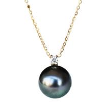 PearlYuumi 優美珍珠 18K黄金大溪地黑珍珠项链 45cm 9-10mm