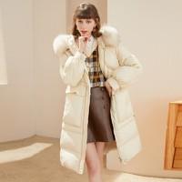 衣香丽影 DSY0123FY650 女款大毛领白鸭绒外套