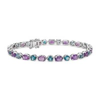 Blue Nile 54669 925纯银紫水晶与蓝色托帕石手链