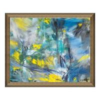 现代简约抽象风景油画《兰色的行板和快板》典雅栗 91×75cm