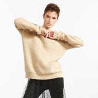 Five Plus女冬装慵懒风毛衣女宽松中长款套头衫露背长袖圆领