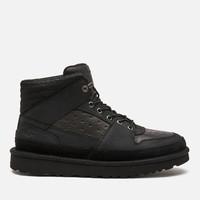 UGG 男士中筒皮革运动鞋-黑色
