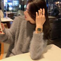 Tonlion 唐狮 62542FC0043248862 女士仿水貂绒圆领套头毛衣