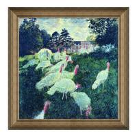 现代简约 莫奈名人油画《草地上的火鸡群》典雅栗 112×114cm