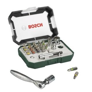 BOSCH 博世 棘轮手柄批头套筒26件套装 塑盒精装