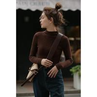 Morjin半高领针织衫2020秋冬新款短款修身显瘦打底衫毛衣