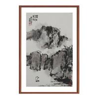 《沧江风帆》 朱屺瞻 水墨画国画 咖啡实木国画框70×47cm