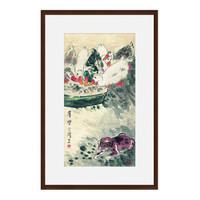 现代简约新中式国画水墨画《群乐图》茶褐色 76×116cm