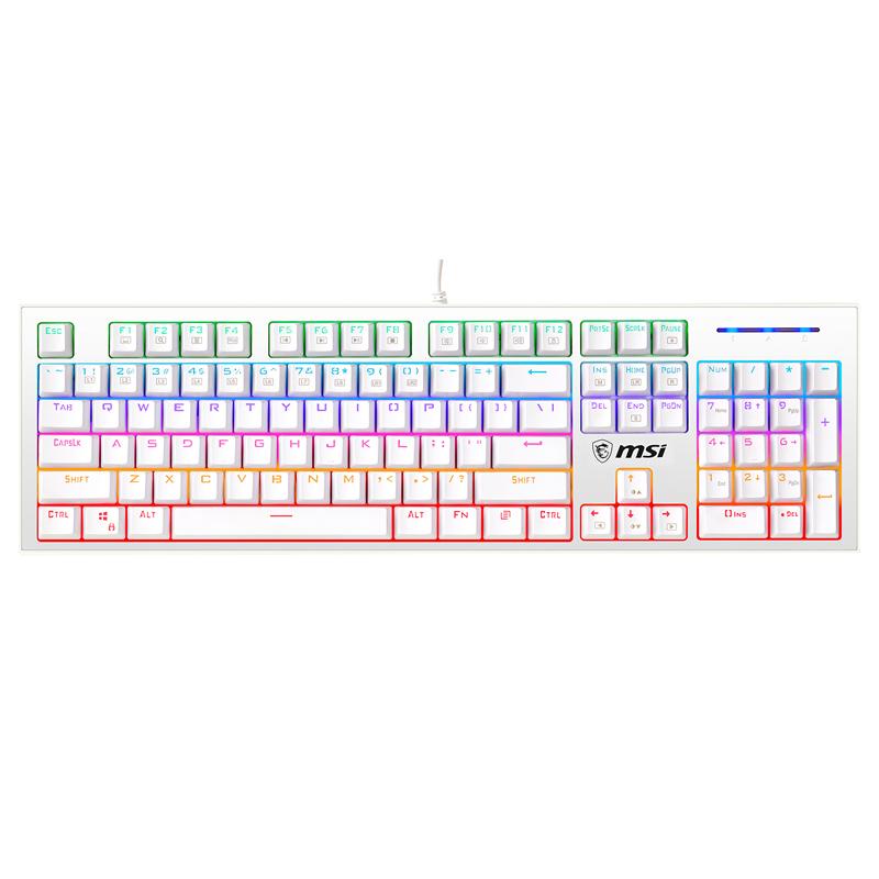 MSI 微星 GK50Z 104键 有线机械键盘 白色 高特青轴 RGB