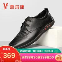 意尔康男鞋商务休闲鞋系带圆头皮鞋男韩版舒适百搭单鞋子男 1111GA82111W 黑色 42