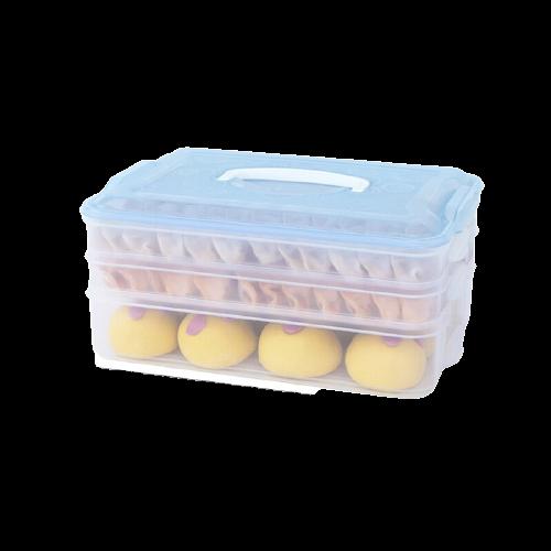 HAIXIN 海兴 饺子盒3层1盖冰箱收纳盒长方形饺子冷冻盒馄饨盒带盖托盘可微波冷冻 透明蓝
