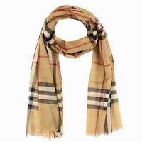 BURBERRY围巾男女通用英伦风经典格纹羊毛混纺围巾