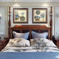 心泊(SIMPLE S) 臥室裝飾畫美式玄關走廊過道壁畫沙發背景墻畫床頭歐式二聯有框掛畫 A1款-美式經典木框 60x60cm二聯(適合1.8m床頭掛畫)