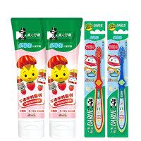 黑人(DARLIE)樂固齒兒童牙膏牙刷套裝6-10歲(草莓60g*2+牙刷*2) *5件