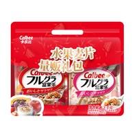 Calbee 卡乐比日本进口水果苹果麦片礼袋礼盒+徐福记酥心糖桶600g混合口味礼桶