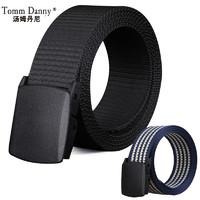 TommDanny 湯姆丹尼 中性帆布自動扣腰帶 F0000008 黑灰色 116