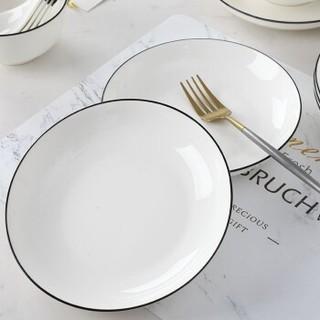 尚行知是 北欧黑边陶瓷家用餐盘7英寸  6个装