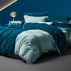 MENDALE 梦洁家纺 蓝色多瑙河 双面加绒四件套 1.5m床