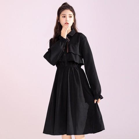 2021新款连衣裙女装黑色磨毛春季长袖法式复古收腰显瘦打底裙