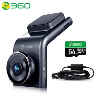 360 行车记录仪 G300pro 1296p高清 迷你隐藏 微光夜视 无线测速电子狗一体 黑灰色+64G卡+降压线组套产品