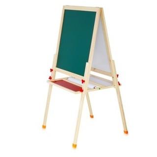 得力(deli) 33056 实木可升降560*540mm双面磁性多功能学生白板 儿童画板画架 粉笔绿板(尺寸不含边框)