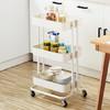 心家宜 置物架 厨房蔬菜小推车可移动浴室家用收纳架子卧室带轮手推储物架 三层(乳白色)