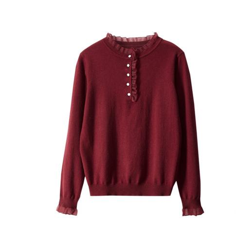 Sentubila 尚都比拉 女士荷叶领打底衫 W04H31993 森巴红 S