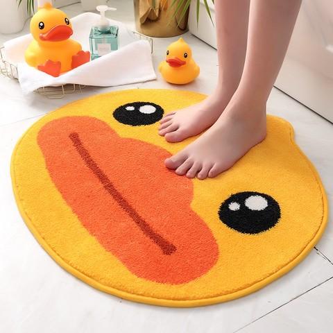 DAJIANG 大江 地垫小黄鸭圆形毯子客厅茶几毯脚垫家用儿童卧室床边卡通地毯